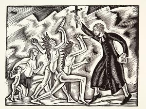 The Attack, from the Travels and Sufferings of Father Jean De Brebeuf, 1938 by Eric Gill