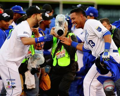 Eric Hosmer & Salvador Perez celebrate winning Game 4 of the 2014 American League Championship Seri