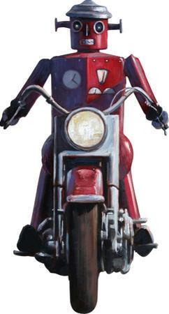 Moonrise (Robot on Motorcycle, Detail) by Eric Joyner Lifesize Standup by Eric Joyner