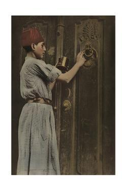 A Child Polishes the Brass Door Knocker on the Big Front Door by Eric Keast Burke
