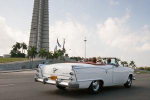 Classic American Car by Jose Marti Memorial, Plaza De La Revolucion, Revolution Square, Havana by Eric Kruszewski