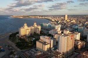 Cuban Flags Hanging from Several Buildings are Visible in This Aerial View of Downtown Havana by Eric Kruszewski