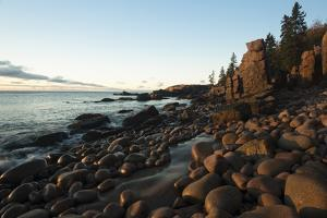 View of Otter Cliffs with Early Morning Light on the Boulders of the Rocky Shoreline by Eric Peter Black