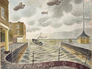 Barrage Balloons Outside a British Port by Eric Ravilious