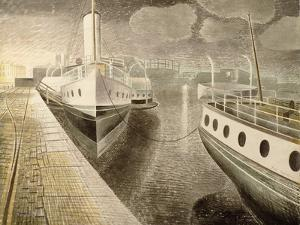 Paddle Steamers at Night by Eric Ravilious