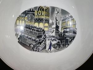Piccadilly Circus, Decoration on Wedgwood Bowl Commemorating the Boat Race by Eric Ravilious