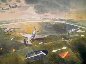 R.A.F. Planes on an Airfield by Eric Ravilious