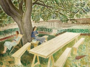 Two Women Sitting in a Garden, 1933 by Eric Ravilious
