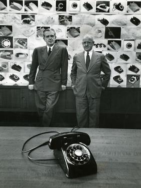 1949: Creators of New Telephone Stylist Henry Dreyfuss and Engineer and Bell Vp William H. Martin by Eric Schaal