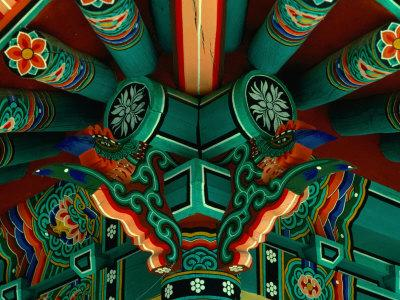 Ceiling Detail at Temple in Village, Seoul, South Korea