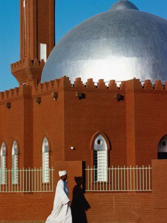 Man Walking Past Silver-Domed Mosque, Omdurman, Khartoum, Sudan