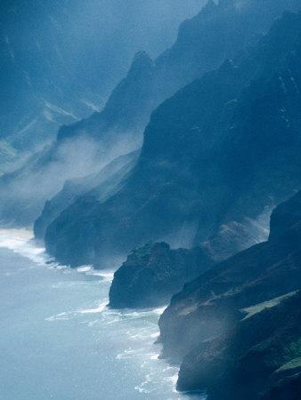 Mist on Rocky Coastline, Kauai, Hawaii, USA
