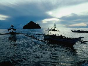Outrigger Boats at Dusk in Sigaboy, Davao Oriental, Philippines, Southern Mindanao by Eric Wheater
