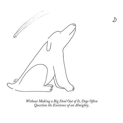 Without Making a Big Deal Out of It, Dogs Often  Question the Existence of? - New Yorker Cartoon