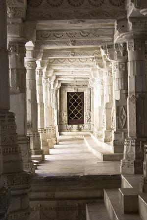 Ornate Marble Columns Of The Famous Jain Temple Ranakpur Located In Rural Rajasthan, India