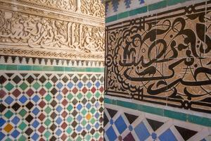 Colorful Mosaic Tile Work on the Columns in the Medersa Attarine by Erika Skogg