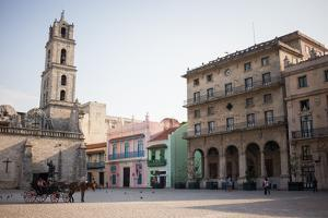 Horse and Carriage Wait in St. Francis of Assisi Square in Havana, Cuba by Erika Skogg