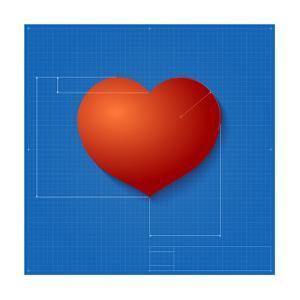 Heart Symbol Like Blueprint Drawing by eriksvoboda