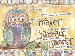 Pastel Owl Family 1 Braver Stronger Smarter by Erin Butson