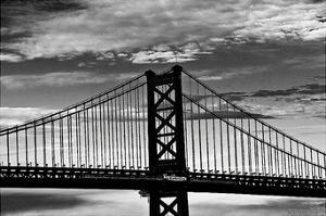 Benjamin Franklin Bridge (b/w) by Erin Clark
