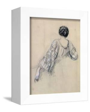 Back of a Young Woman (Study for 'La Malaria') (Chalk on Paper) by Ernest Antoine Hebert