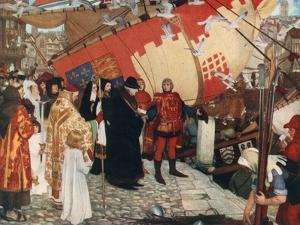 The Departure of John and Sebastian Cabot from Bristol on their First Voyage of Discovery, 1497 by Ernest Board