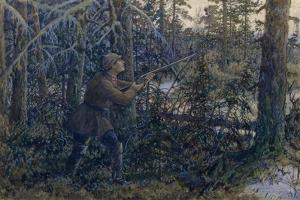 Capercaillie Hunting, 1937 by Ernest Ernestovich Lissner