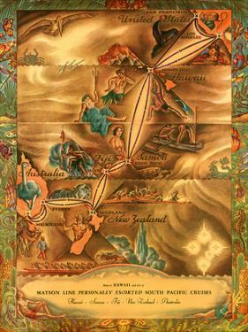 South Pacific Route Map - Hawaii, Samoa, Fiji, Australia, New Zealand - Matson Line by Ernest Hamlin Baker
