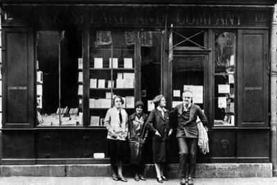Ernest Hemingway and Sylvia Beach Infront of the 'Shakespeare and Company' Bookshop, Paris, 1928