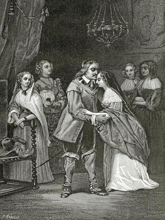 Cromwell and His Daughters, 19th Century