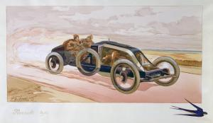 A Renault Racing Car, 1908 by Ernest Montaut
