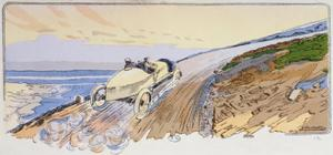 Henri Rougier in His Lorraine-Dietrich Competing in the Mount Ventoux Rally in 1904, c.1910 by Ernest Montaut