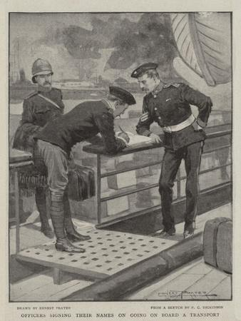 Officers Signing their Names on Going on Board a Transport