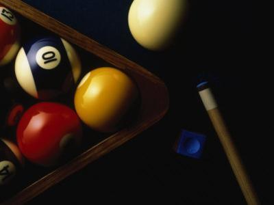 Rack of Pool Balls with Chalk and Cue