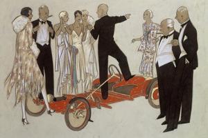 A Group of Ladies and Gentlemen in Evening Dress Listening to a Speaker by Ernst Deutsch-dryden