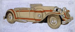 An Illustration Showing a 1924 Delage with Coachwork by Letourneur Et Marchand by Ernst Deutsch-dryden