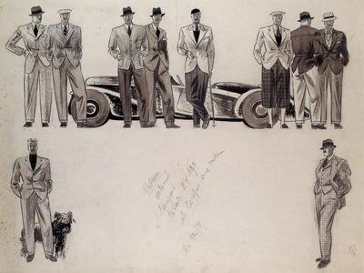 Fashion Design for 'Adam', Depicting Ten Male Models Standing by a Car