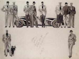 Fashion Design for 'Adam', Depicting Ten Male Models Standing by a Car by Ernst Deutsch-dryden