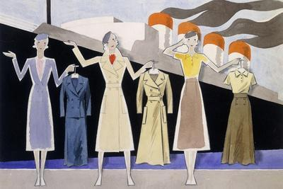 Fashion Design Showing Three Female Models Holding Up Garments on Hangers