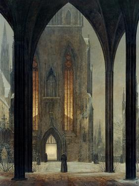 Cathedral in Winter, 1821 by Ernst Ferdinand Oehme