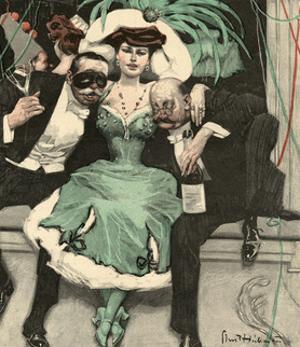 Masked Ball, Green Dress by Ernst Heilemann