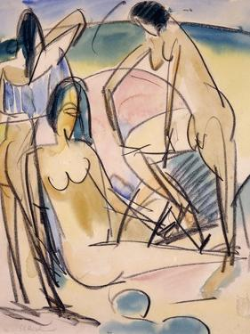 Bathers on the Shore, Fehmarn by Ernst Ludwig Kirchner
