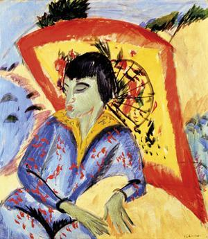 Erna with Japanese Umbrella by Ernst Ludwig Kirchner
