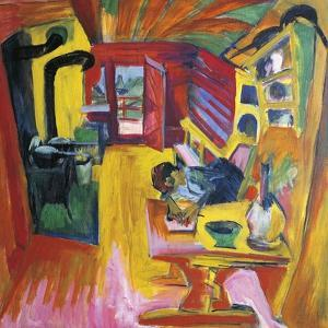 Kitchen of Mountain Cabin by Ernst Ludwig Kirchner