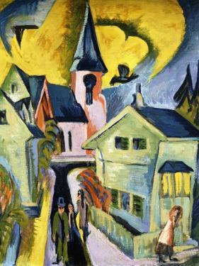 Konigstein with Red Church by Ernst Ludwig Kirchner