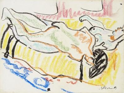 Love Couple in Studio (Two Nude), 1908-1909