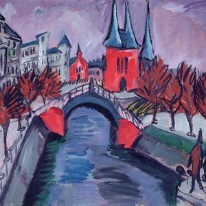 Red Elisabeth Riverbank, Berlin, 1912 by Ernst Ludwig Kirchner
