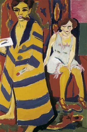 Self-Portrait with Model by Ernst Ludwig Kirchner