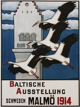 Baltische Ausstellung - Schweden Malmo Travel Poster by Ernst Norlind
