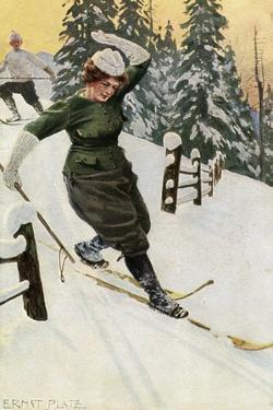 Woman Skiing, Late 19th or Early 20th Century by Ernst Platz